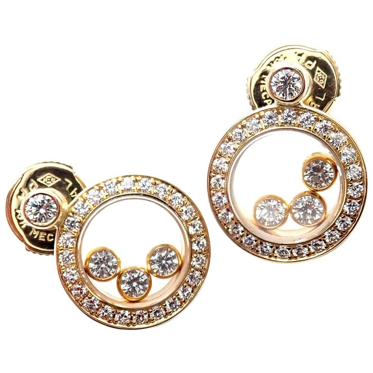 Chopard Happy Diamond Round Yellow Gold Earrings