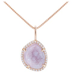 Karolin Rose Gold White Diamonds Agate Geode Pendant