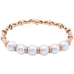South Sea White Pearl and Diamond Accent Rose Gold Bangle