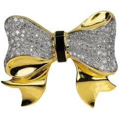 18 Karat Diamond Bow Pendant / Slide