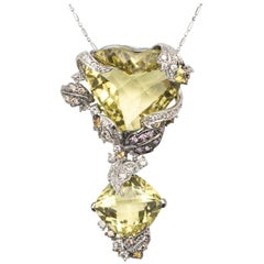 35 Karat Huge Lime Quartz and Diamond Pendant