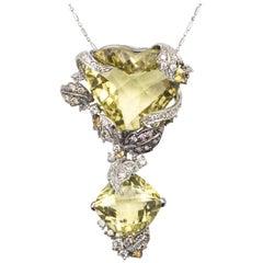 18 Karat Huge Lime Quartz and Diamond Pendant