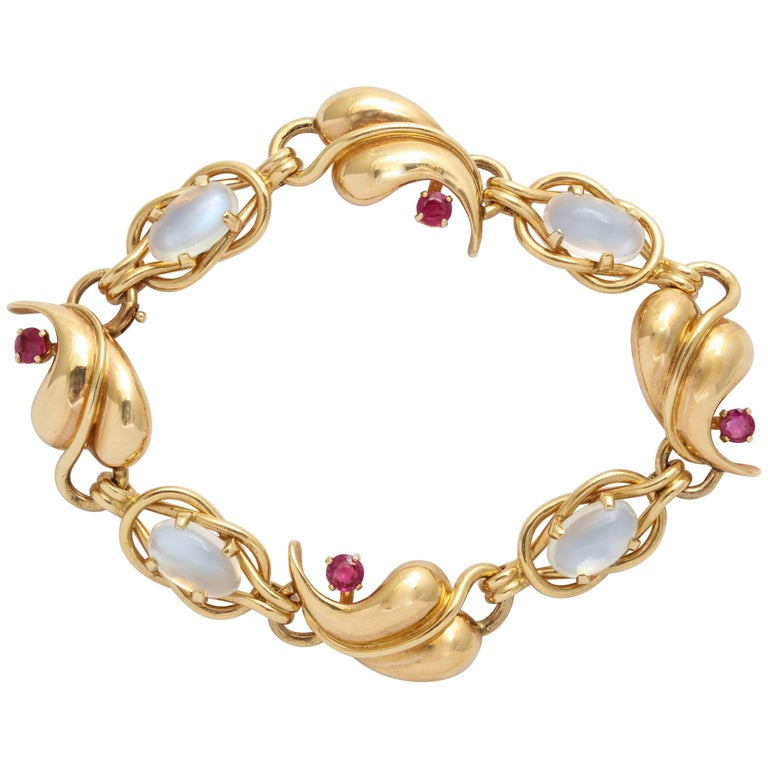 Retro Moonstone Ruby Gold Bracelet