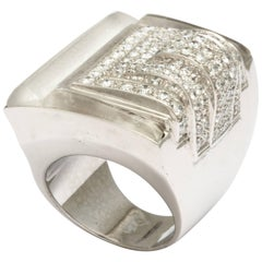 Diamond Frosted Carved Rock Crystal Ring