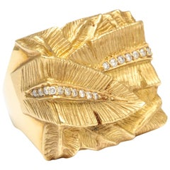 Palm Leaf Diamond Gold Ring