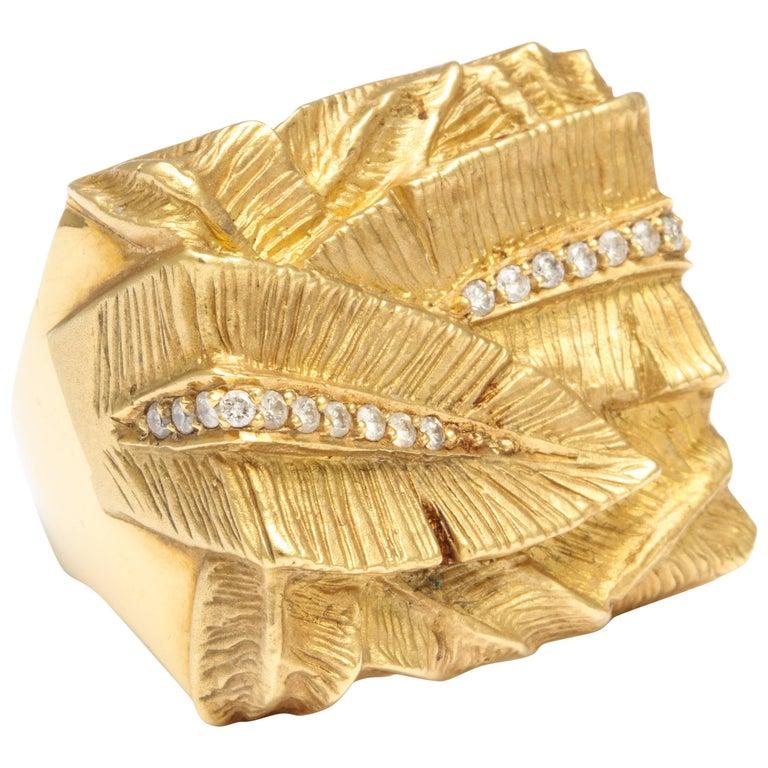 Palm Leaf Diamond Gold Ring