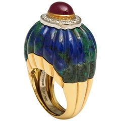 David Webb Azurite-Malachite Ruby Diamond Ring
