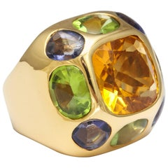 Chanel Peridot Amethyst Citrine Gold Ring