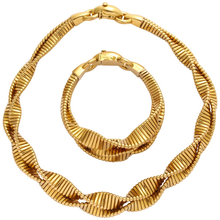 French Twist Retro Tube-Gas Gold Necklace and Bracelet