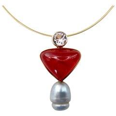 Michael Kneebone Rhodochrosite Sapphire Baroque South Seas Pearl Pendant