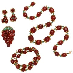 Robert Barre 1950s Carnelian Emerald Jewelry Ensemble