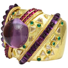 Demner Convertible Emerald to Amethyst Diamond Gemstone Gold Bracelet