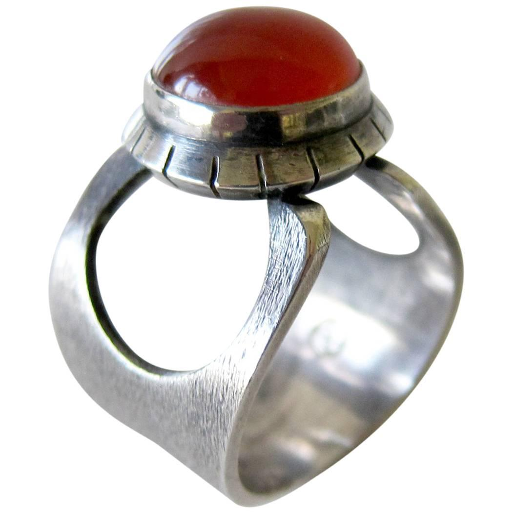 James Parker Sterling Silver Carnelian San Diego Modernist Ring