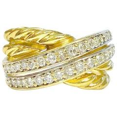 David Yurman Diamond Yellow Gold Crossover Band Ring