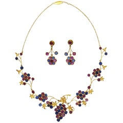 1950s Pink and Blue Sapphire Necklace and Earrings