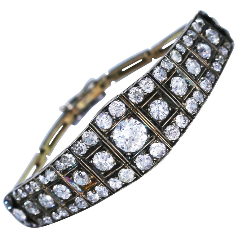 Victorian Platinum-Topped Gold and Diamond Bracelet For Sale