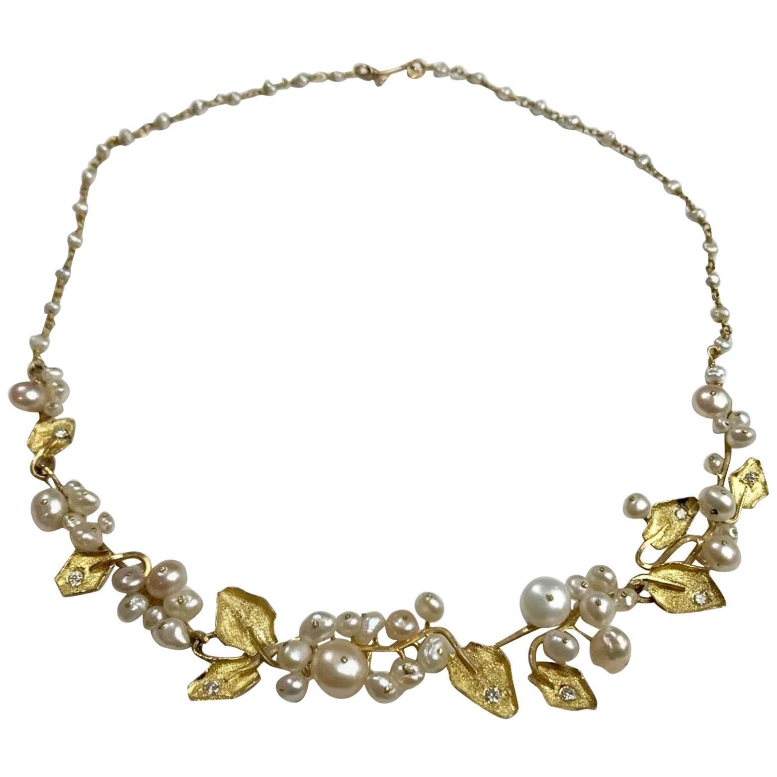 22 Karat Gold Diamond Pearl Necklace by Argyros