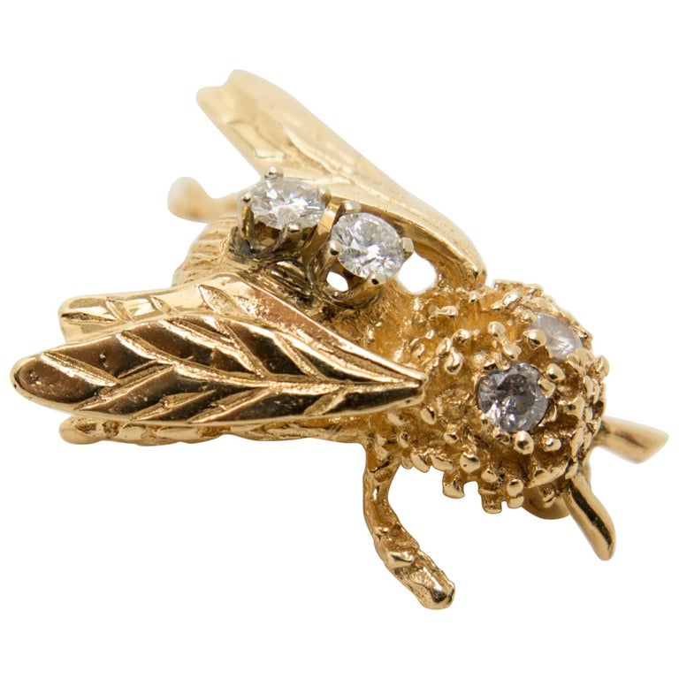 Vintage Gold Bee Brooch with Diamonds