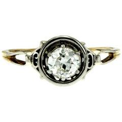 Art Deco Diamond Gold Solitaire Ring