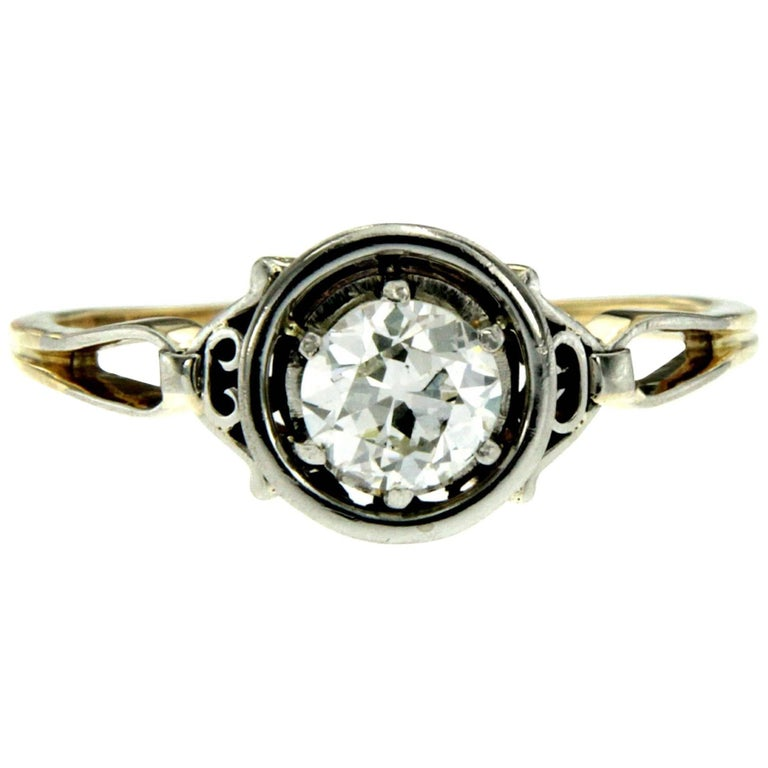 Art Deco Diamond Gold Solitaire Ring