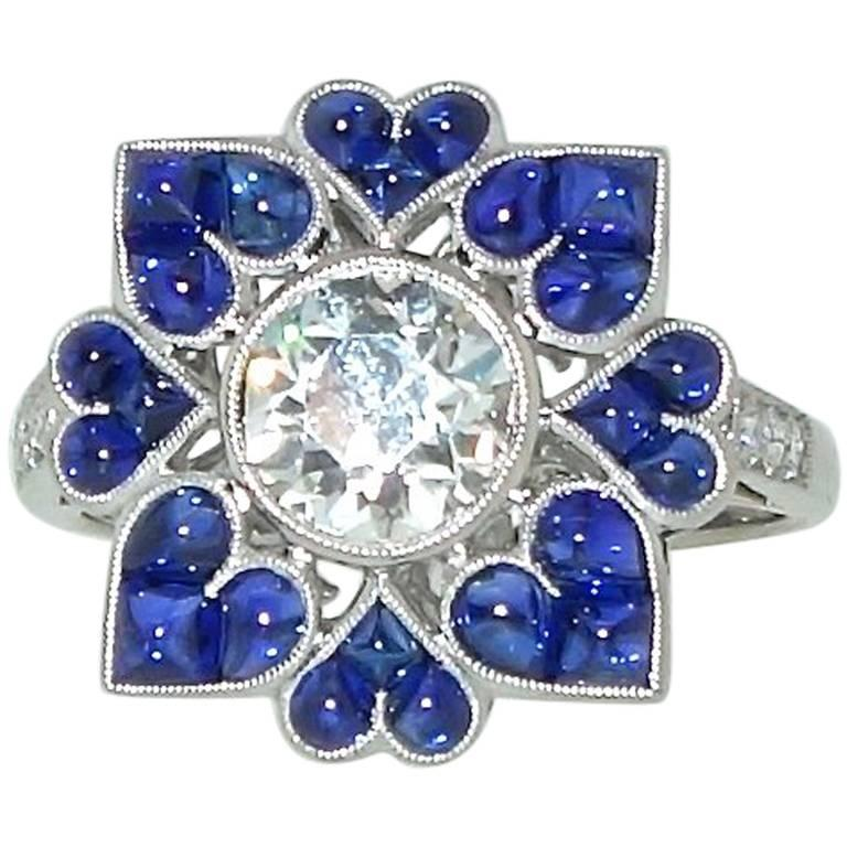 Platinum, Diamond and Sapphire Ring