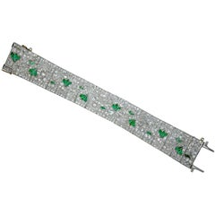 Art Deco Diamond and Emerald Bracelet, circa 1930