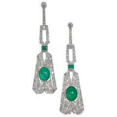 Art Deco Emerald and Diamond Earrings, circa 1925