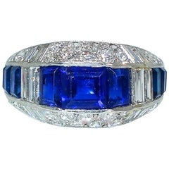 Art Deco Diamond and Sapphire Ring, circa 1930