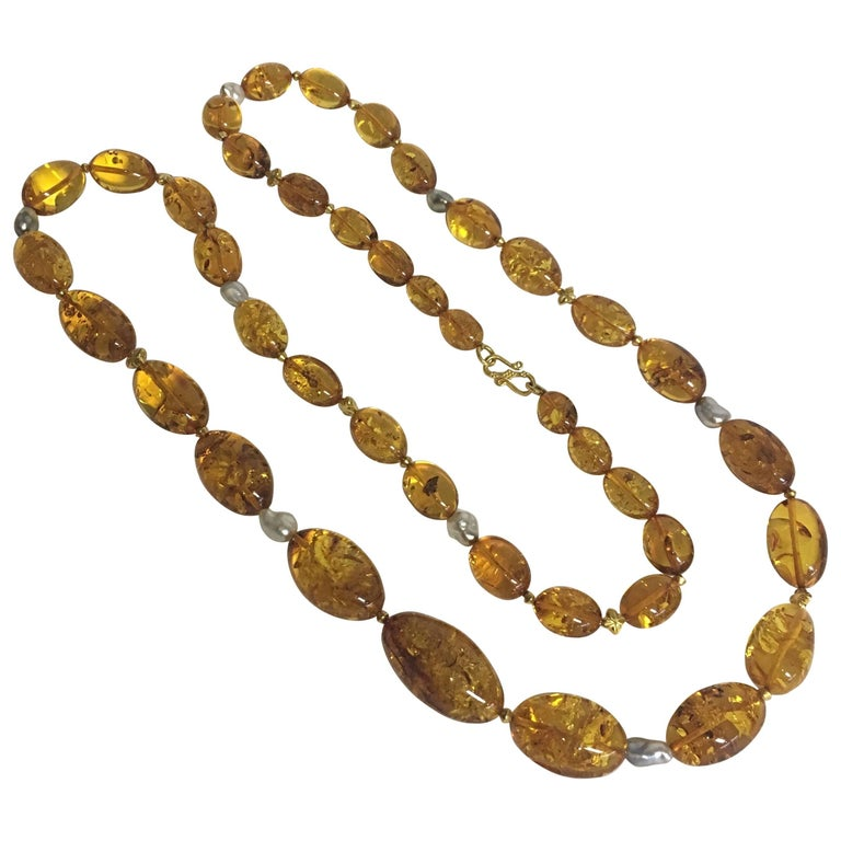 Baltic Amber Necklace with Baroque South Sea Pearls, 18 Karat Gold