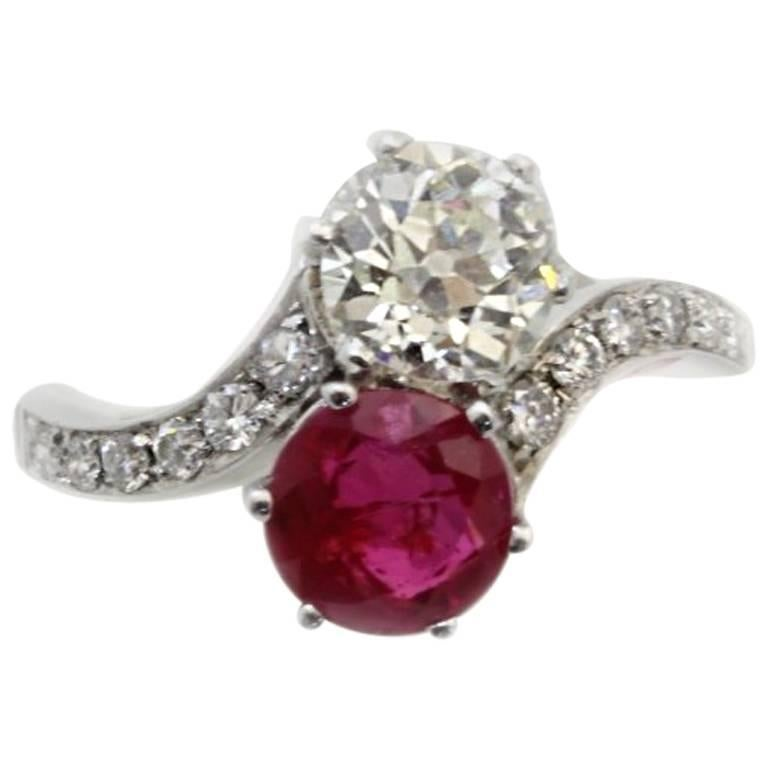Old Ruby Diamond Crossover Ring