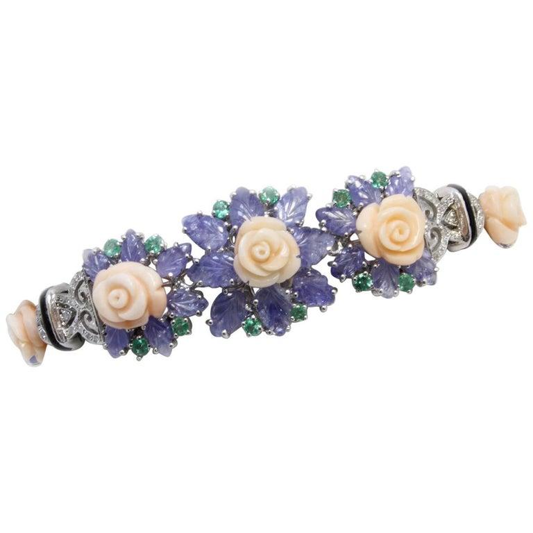 Sapphires Diamonds Coral Emerald Onyx Retro White Gold Bracelet