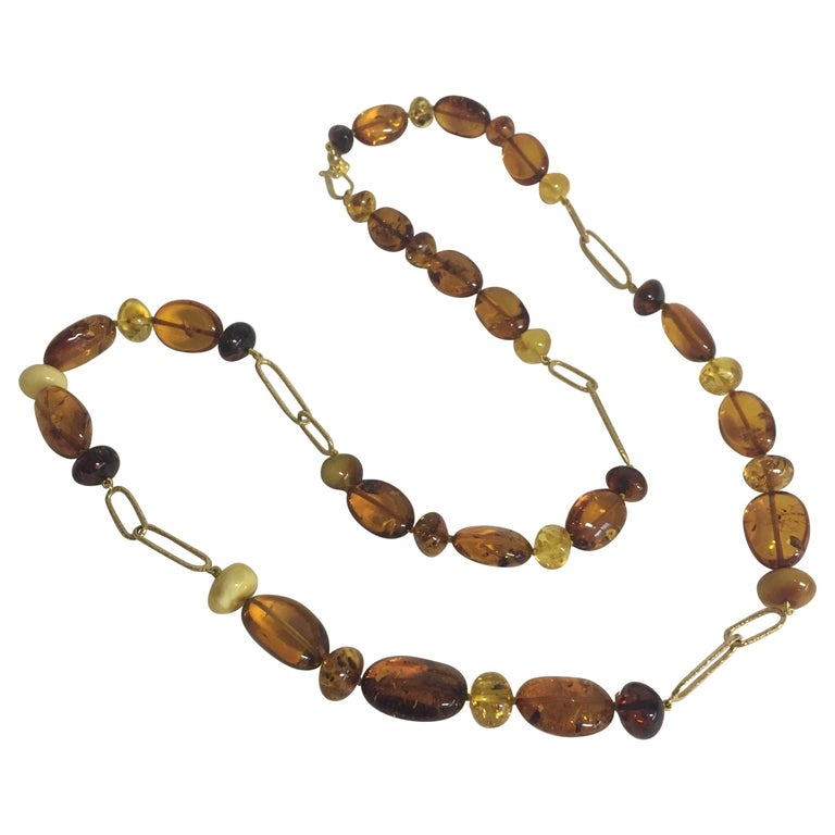 Baltic Amber Necklace with 18 Karat Gold Double Locks and Gold Clasp