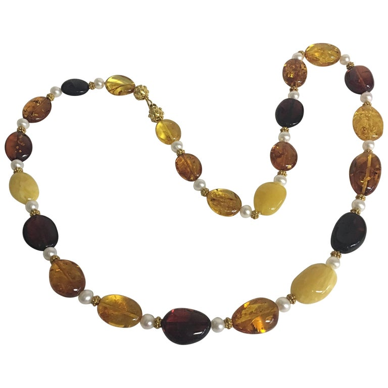 Baltic Amber Necklace with 18K Granulated Gold Beads & Clasp, Freshwater Pearls