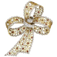 Vintage Ruby and Diamond Bow Brooch, circa 1960