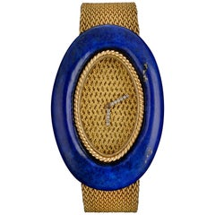 Audemars Piguet Ladies Yellow Gold Diamond Lapis Lazuli Wristwatch