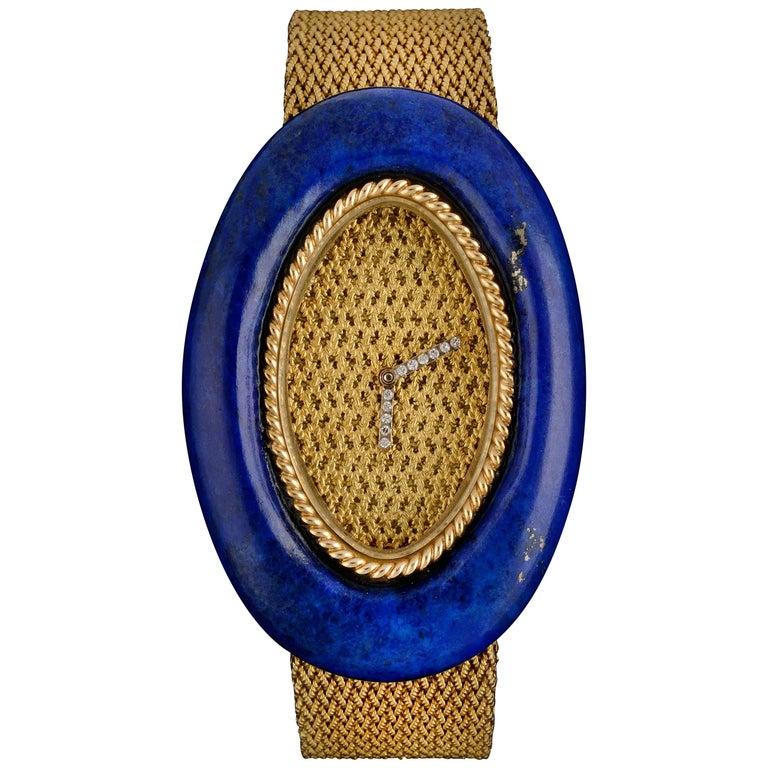 Audemars Piguet Ladies Yellow Gold Diamond Lapis Lazuli Wristwatch For Sale