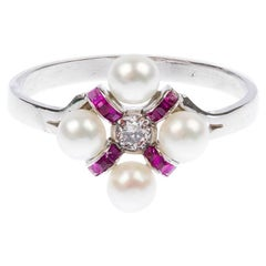 Art Deco White Gold 0.10 Carat Diamond, Cultured Pearl and Ruby Ring