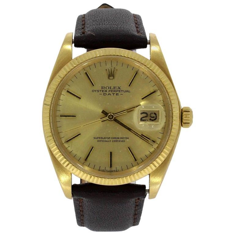 Rolex Yellow Gold Date Calibre 1570 Wristwatch Ref 1503, 1977