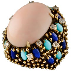 Cocktail Ring Yellow Gold Coral Peau d'Ange Lapis Lazuli Diamonds and Turquoise