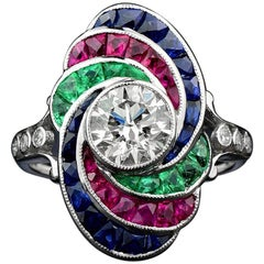 GIA Certified 1.21 Carat Diamond with Emerald Ruby Sapphire 18 Karat Gold Ring