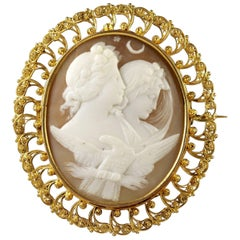 Antique Victorian Night and Day Cameo Brooch, circa 1880