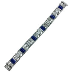 1930s Art Deco Sapphire Diamond Platinum Bracelet