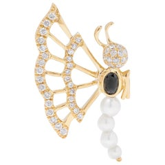 Yvonne Leon's Earring Butterfly with Pearls and Diamonds in 18 Karat Yellow Gold
