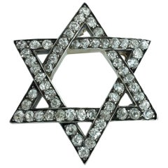 Antique Star of David Diamond Silver and Gold Pendant Brooch
