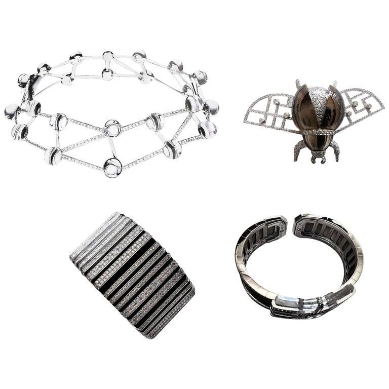 Cartier Museum White Diamond Crystal Necklace Brooch Bracelet Set Suite