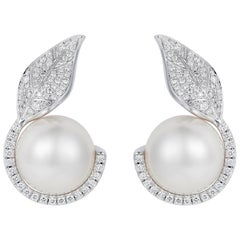 Nadine Aysoy 18K White Gold, White Diamond & White South Sea Pearl Stud Earrings