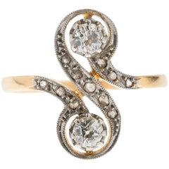 Antique French Toi et Moi Gold Diamond Dress Ring