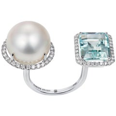 Nadine Aysoy Elle et Lui White Gold Aquamarine and South Sea Pearl Diamond Ring