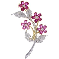 Pink Sapphire Diamond Flower Bouquet Brooch