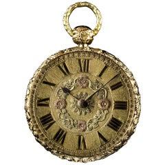 Litherland Davis Yellow Gold Decorated Case Open Face Pocket Watch